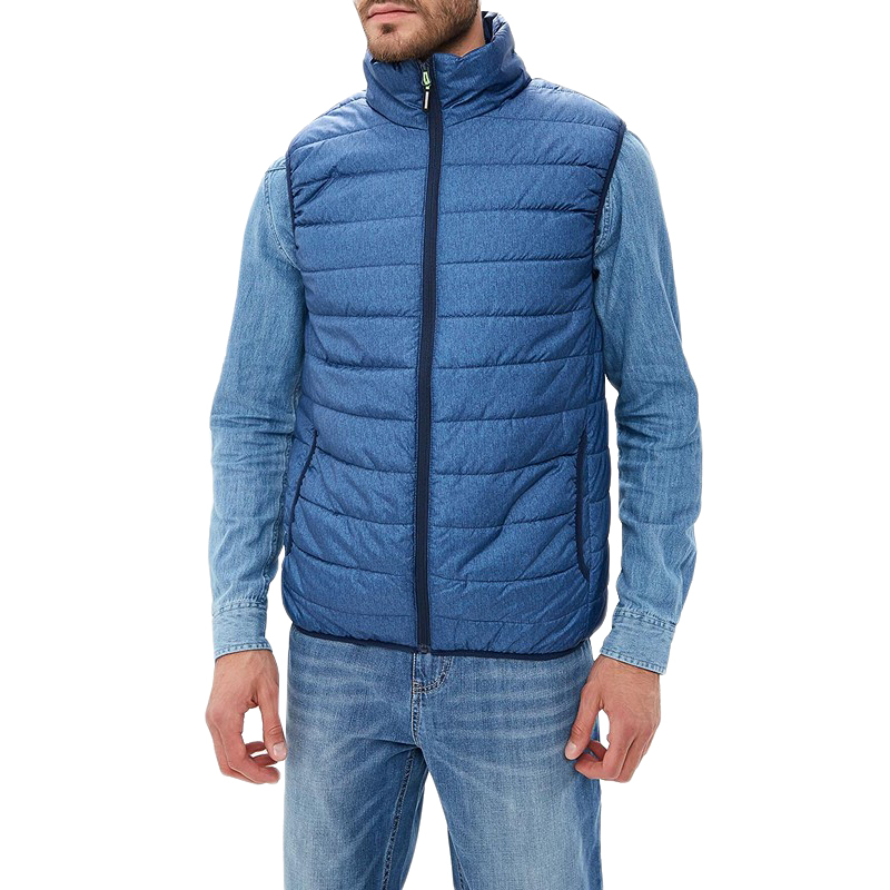 Vests MODIS M182S00044 vest sleeveless jackets coat for male for man TmallFS blue plain lapel collar sleeveless trench coat