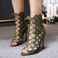 2017 Hollow Botas de Punta Abierta de Verano Zapatos de Las Señoras Tacones Altos Bombas 10 cm Moda Sexy Zapatos de Verano Sandalia de Las Mujeres Del Tobillo botas