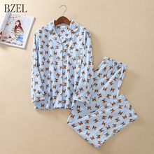 BZEL Autumn Women Ladies Cute Cotton Pajamas Sets Long Sleev