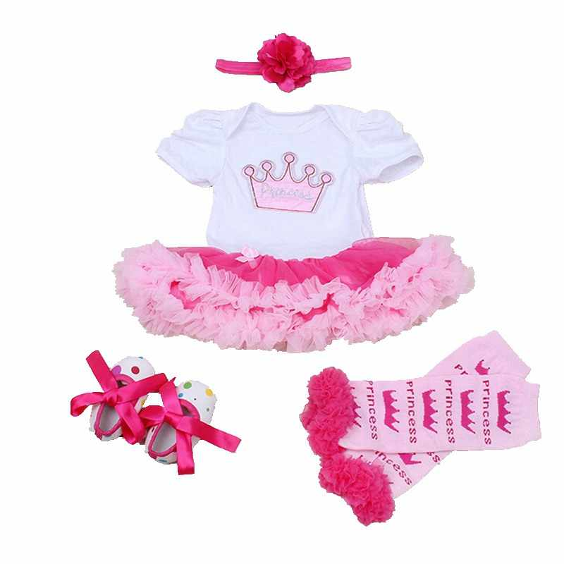dc52ab43f2a ... Princess Crown Applique New Baby Girl Summer Clothes 4PCS Newborn Tutu  Sets Ropa Bebe 1st Birthday ...