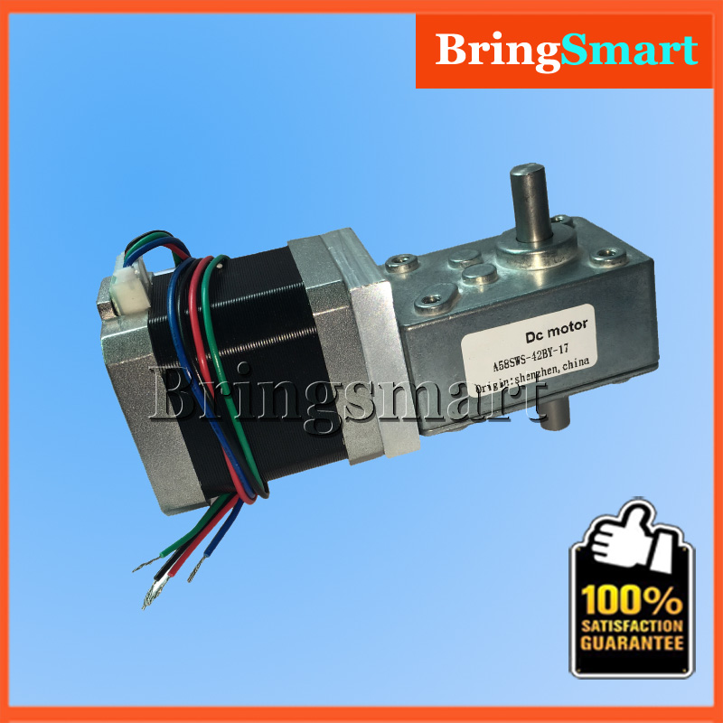 A58SW-42BYS 12Volt DC Stepping Geared Motor Dual Output Shaft 24V 4-wire Worm Stepper Reduction Motor High Torque Self-locking