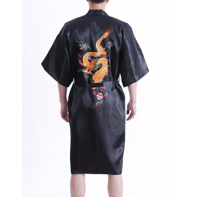 Hot Sale New Black Men s Silk Satin Kimono Robe Gown Chinese Style  Sleepwear Embroidery Dragon Bath Gown Size S-XXXL 011008 537a7ea56