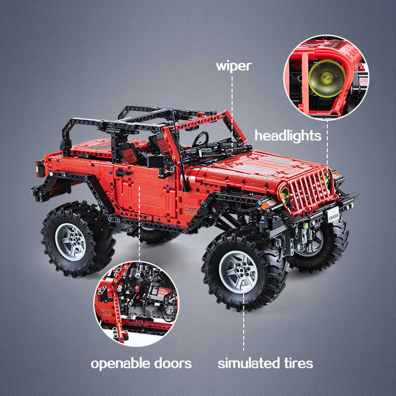CADA Telecomando Jeep Wrangler Auto Technic Avventuriero Building Blocks Mattoni Set Bambini Ragazzi Giocattoli Educativi Compleanni Regali