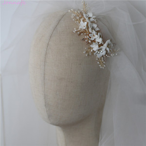 Image 4 - Jonnafe Delicate Porcelain Flower Wedding Hair Comb Pearls Jewelry Handmade Bridal Headpiece Women Prom Hair Accessories