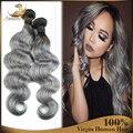 Brasileiro cabelo Ombre onda do corpo 2 pçs/lote brasileiro tecer cabelo humano com fecho cinza cabelo tecer extensões de cabelo Aliexpress