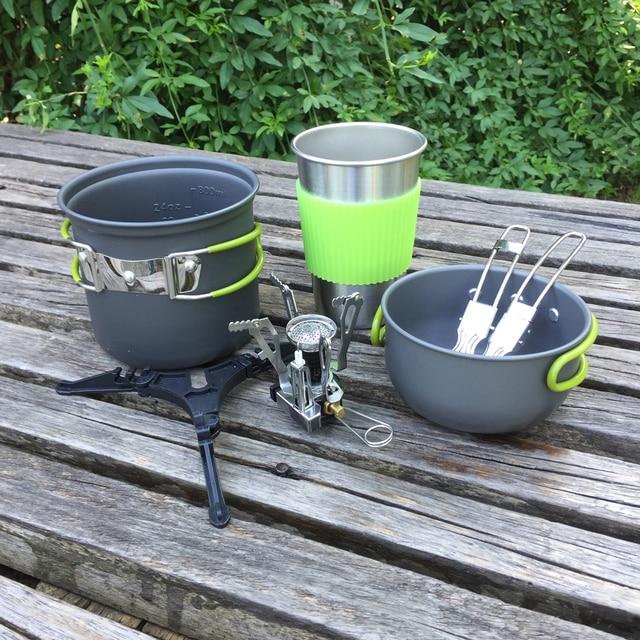 US $29.52 40% OFF|Outdoor Camping Euipment Gasherd Kochtopf Set Picknick  Kochgeschirr Leichtes Mini tasche Kochen Brenner Mit Box in Outdoor Camping  ...