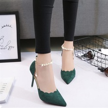 High-heeled shoes female fashion sexy hollow with sandals 2018 summer Korean version of the thin breathable shoes women Pumps