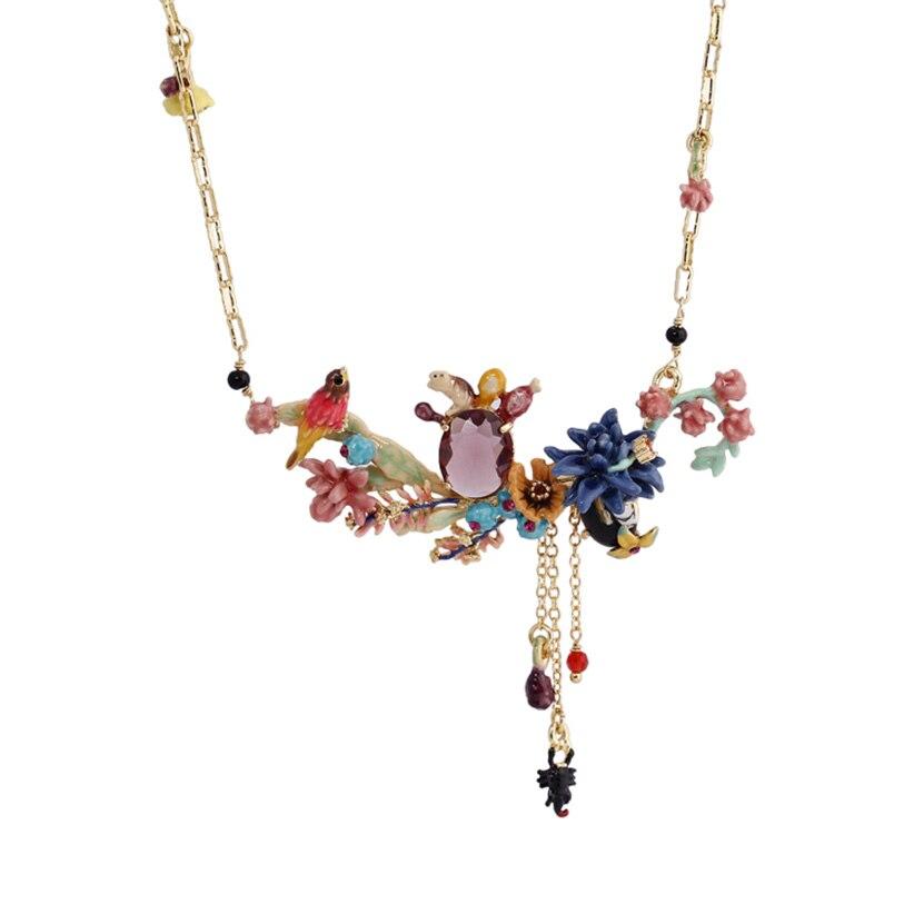 Juteux raisin Anime Cactus violet cristal festif oiseau complexe conception collier pendentif femmes émail Choker mode charme bijoux