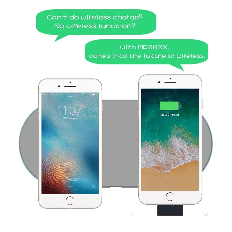 Batterie externe sans fil mince chargeur de batterie de secours externe pour iPhone 8/Samsung S6/One plus 5/HTC boîtier d'alimentation récepteur Qi intégré - 2