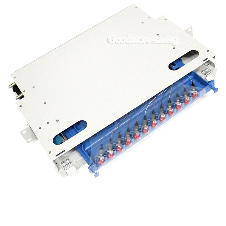 12 port ODF FIBER OPTIC PATCH PANEL with Pigtail Cables,Connectors 106126 1300[fiber optic connectors lc dup adpt zr slv fiber mr li
