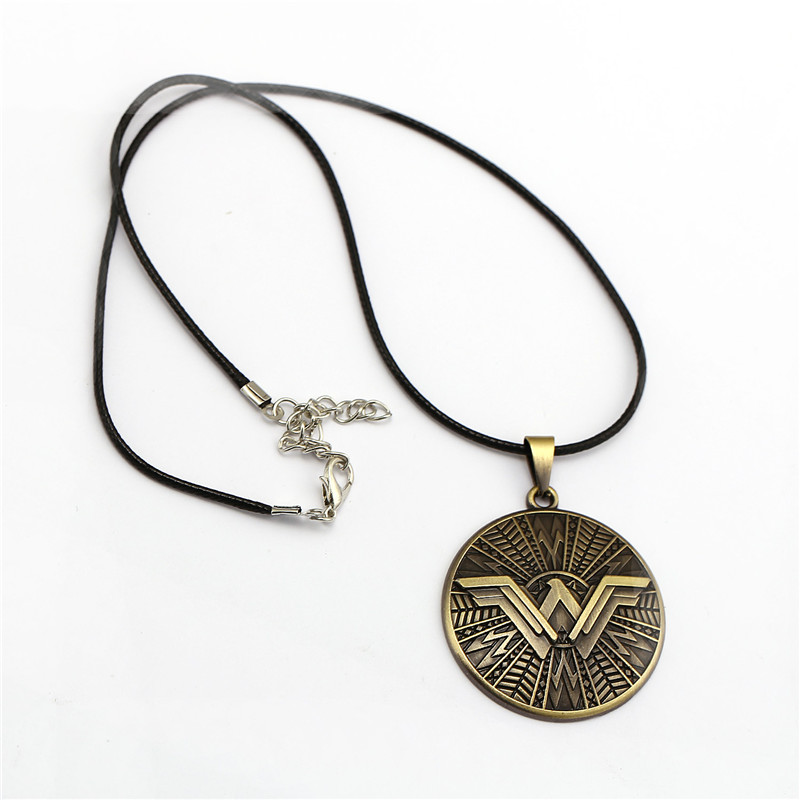 GWTS Justice League Wonder Woman Necklace Round Shield W Pendants Necklace Chocker Necklace For Women Men Jewelry Gifts