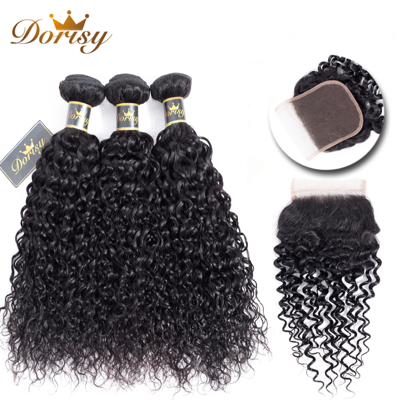 Brazilian Curly Hair Weave Bundles With Closure 3 Bundles Human Hair With Lace Closure Kinky Curly Non Remy Hair Extensions