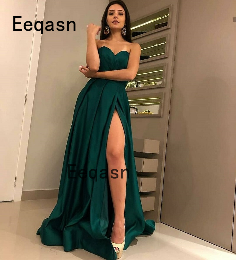 New Arrival Green Evening Dresses 2019 Cheap A-line V-neck Satin High Leg Slit Sexy Long Evening Gown Prom Dress Robe Soiree