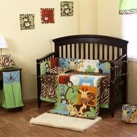 8 шт. Реверсивный кроватки детской комнаты для маленьких Спальня комплект детские постельные принадлежности животных коричневый кроватка