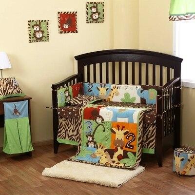 8pc Reversible Crib Infant Room Kids Baby Bedroom Set Nursery Bedding Animal Brown Cot
