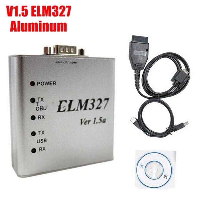 Prix pour Auto Interface De Diagnostic Lecteur de Code En Aluminium ELM 327 V1.5a Soutien Protocole Complet Mini ELM327 USB OBD-II OBD2 Scanner LR20