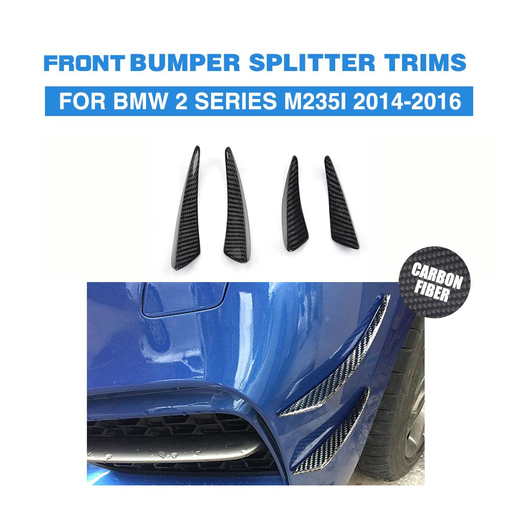 4PCs/Set Carbon Fiber Front Bumper Splitter Spoiler Flip Fins Stickers for BMW 2 Series F22 M235i / M2 2014-2016 Car Accessories universal auto car bumper moulding decorative fins canards front splitter sticker carbon fiber car styling for all cars 4pcs set