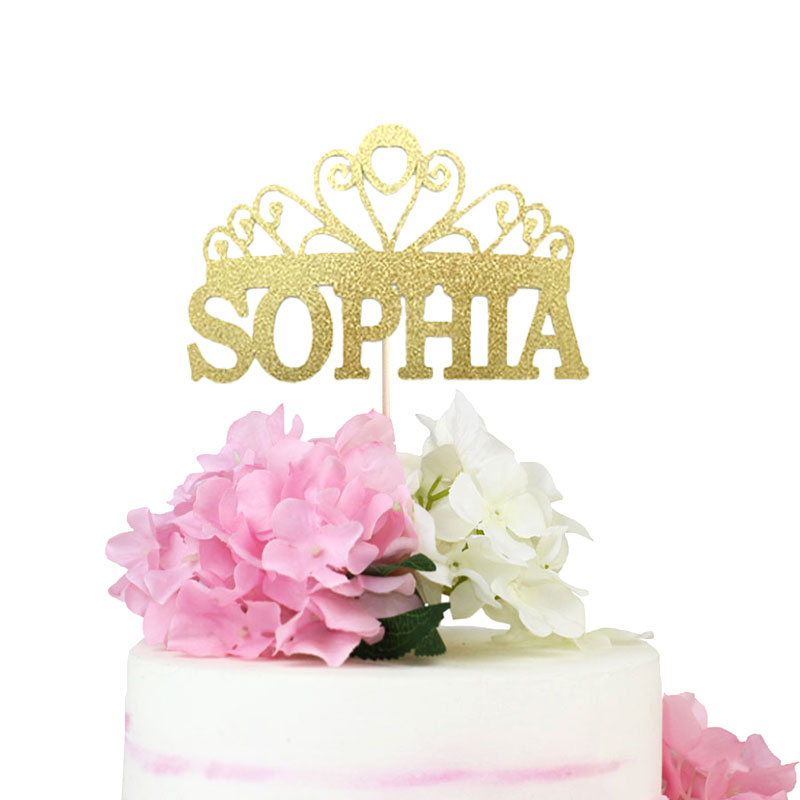 Bebek Duş Prenses Kek Topper Taç Kek Topper Doğum Günü Kek Topper