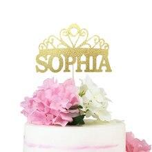 Bebek duş prenses kek Topper taç kek Topper doğum günü pastası Topper parti dekorasyon malzemeleri nişan parti kutlama