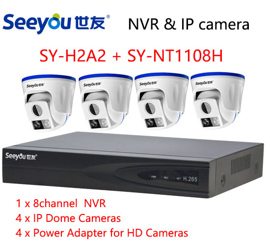 Seeyou 1080P Security Camera Kit NVR SY-NT1108H & IP Camera SY-H2A2 Security CCTV System for Home Easy to Install