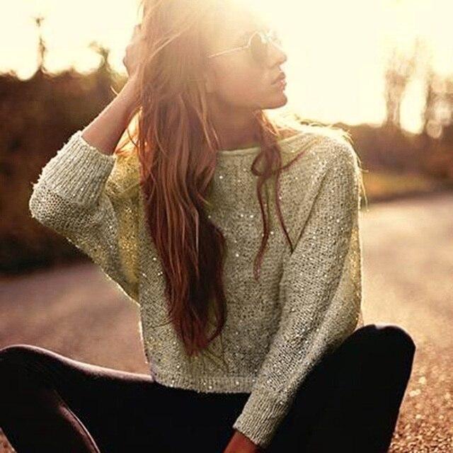 Осень с плеча трикотажные Блузки для малышек Для женщин золото блестками Свитеры для женщин Обувь для девочек Джемперы трикотаж с длинным рукавом блеск пуловеры; свитеры