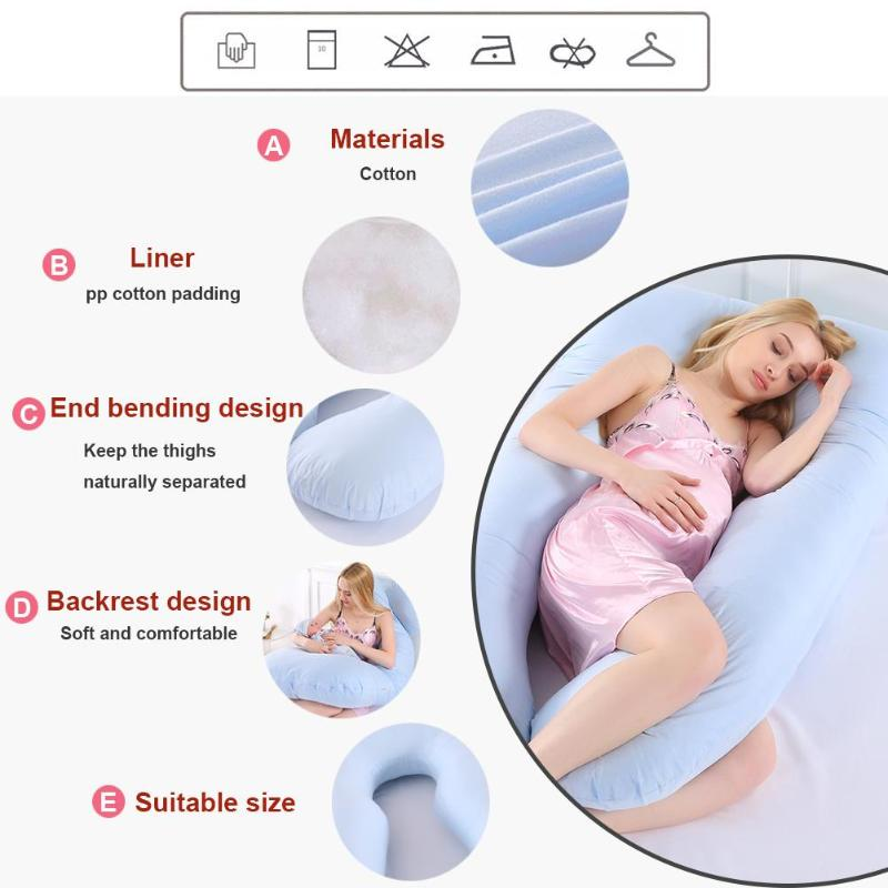 Sleeping Support Pillow For Pregnant Women Body Pure Cotton Pillowcase U Shape Maternity Pillow Pregnancy Protector Side Sleeper
