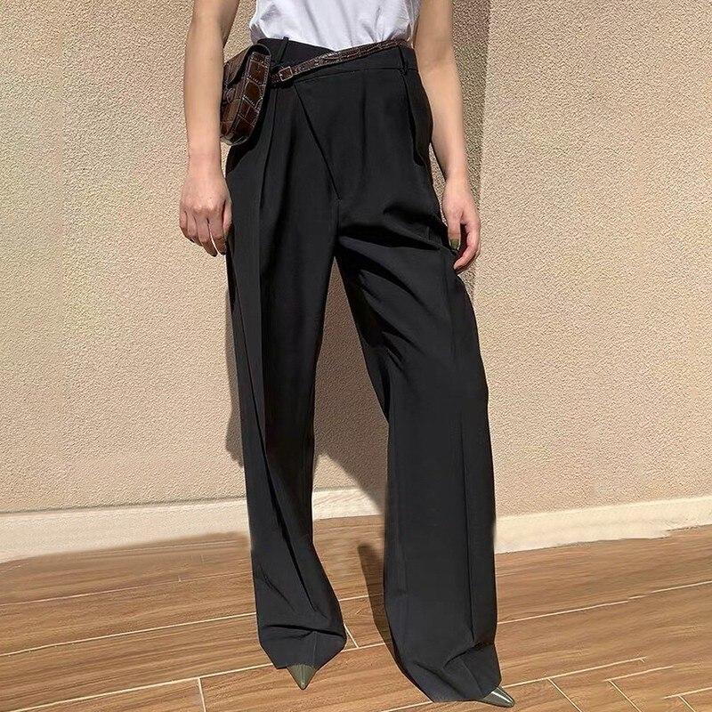 Image 2 - CHICEVER Summer Elegant Solid Women Pant High Waist Irregular  Button Fly Pockets Pleated Slim Regular Female Straight Pants 2020Pants