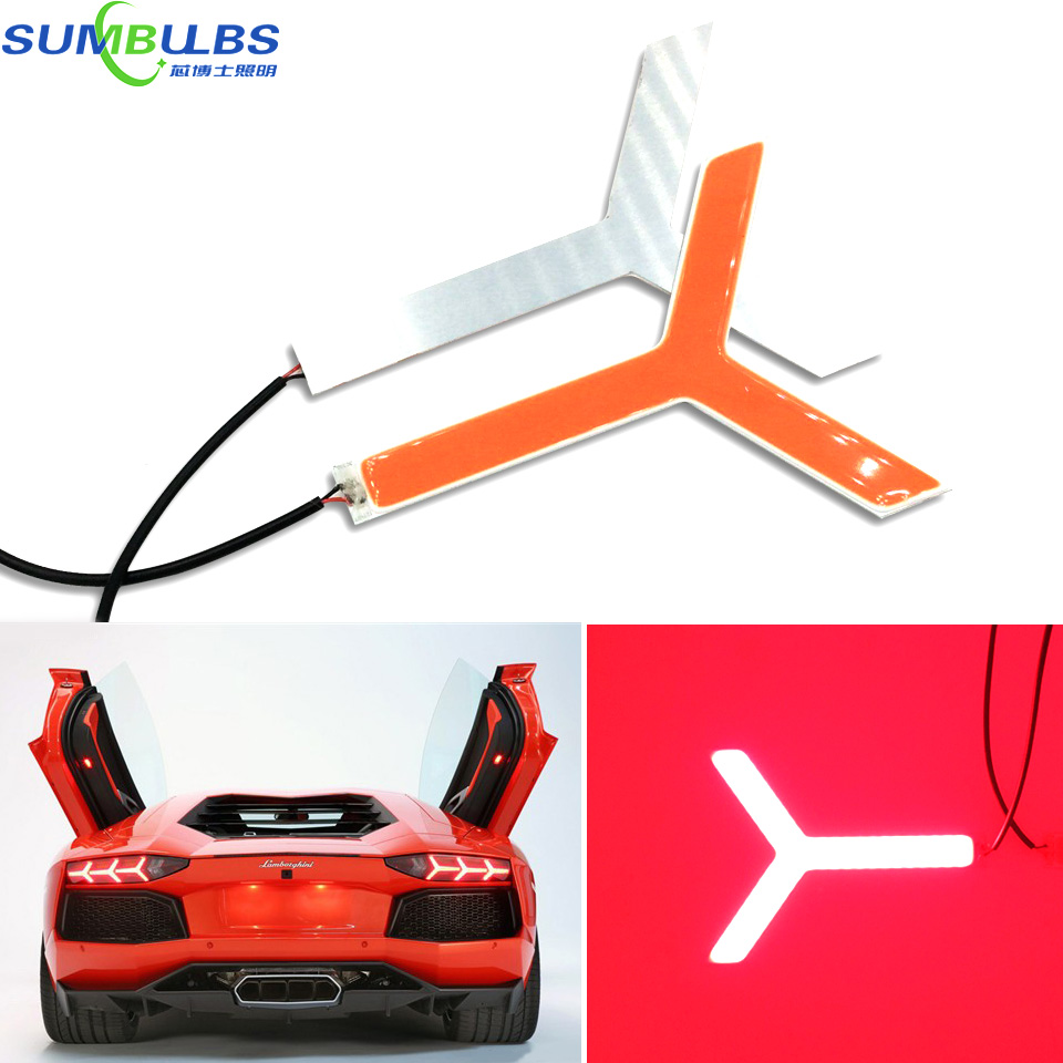 2PCS Y Shaped Red Color COB LED Light Red Color DC12-24V for Lamborghini Tail Brake Lights Lamp DIY Super Bright Car Lighting y 2 diy plastic y shaped connector three way pipe for r c toy transparent 2 pcs
