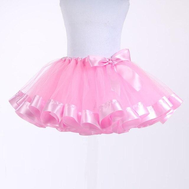 Pink Ribbon Отделка Princess Tutu Мини Тюль Юбка Атласная завернутый Талии День Рождения Танца Балета для Детей Девушки 2-12 лет