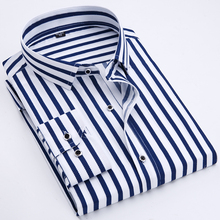2019 Mens business casual long-sleeved classic striped mens social dress shirt red and blue large size m-4 xl