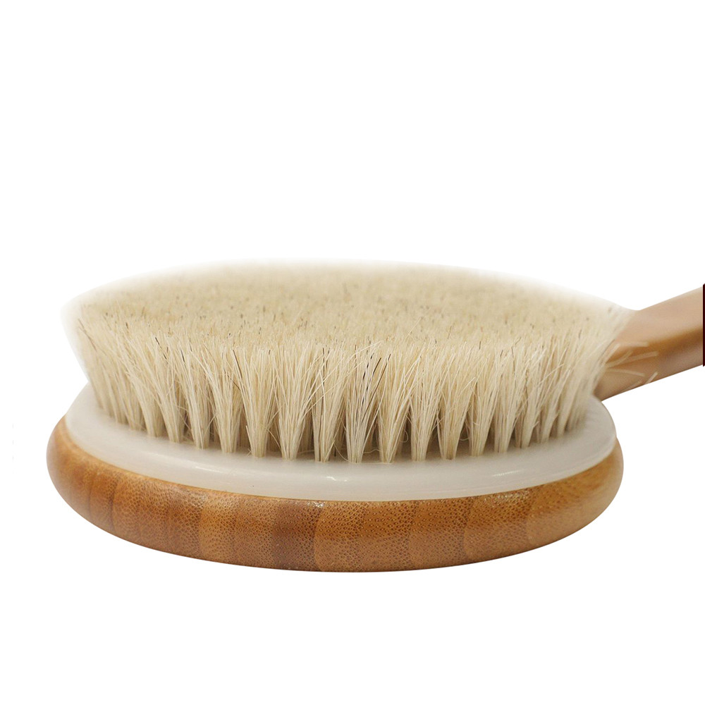 Wooden Bath Shower Brush Long Anti Slip Handle Body