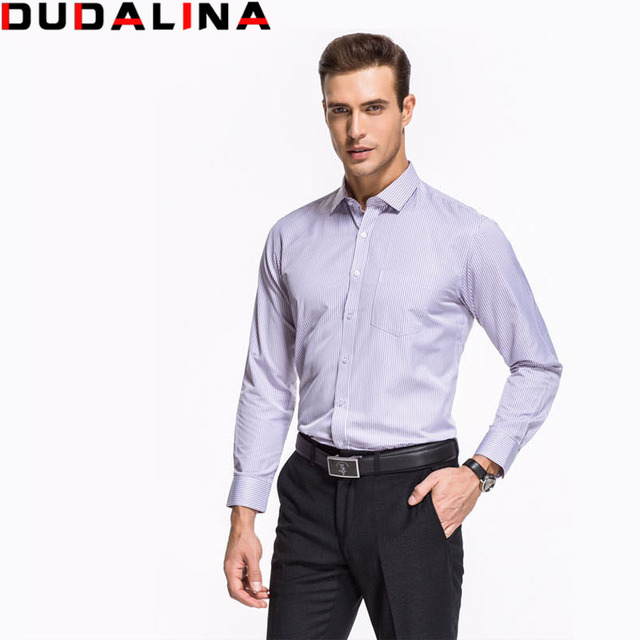 5d53ae0fec9ad Dudalina Classic Striped Men Dress Shirts Long Sleeve Plus Size Formal  Shirts Male Casual Shirts camisa