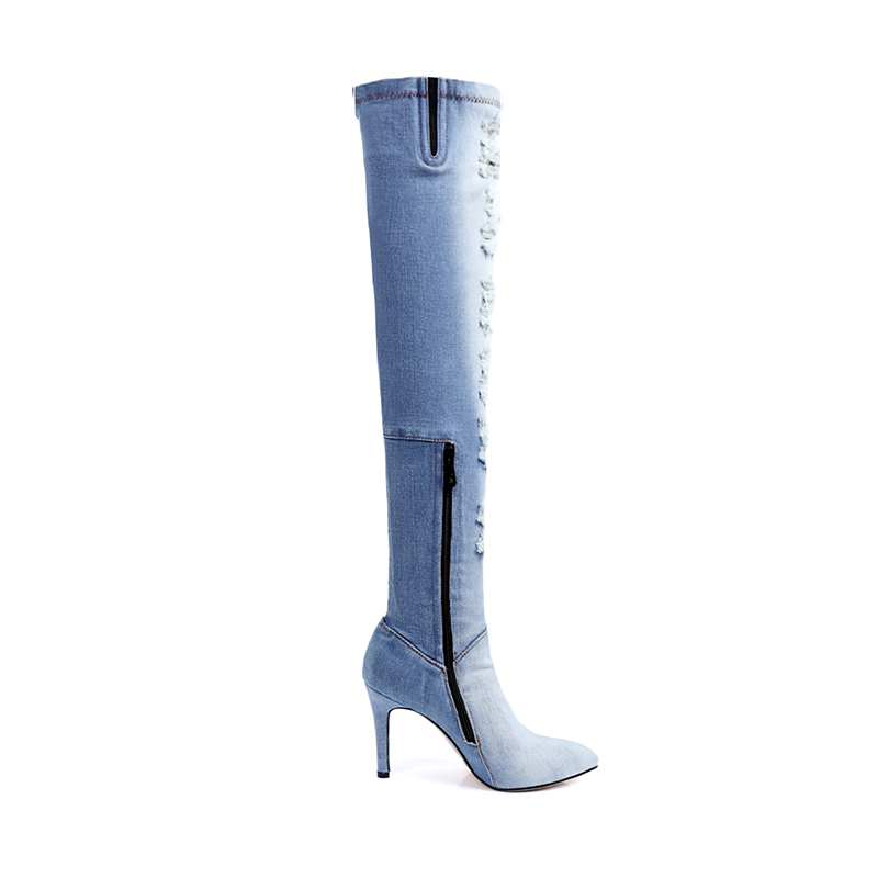 JK High Heels Denim Over The Knee Women Boots Zipper Thin Heels Pointed Toe Footwear Spring Fashion Sexy Holed Ladies Shoes