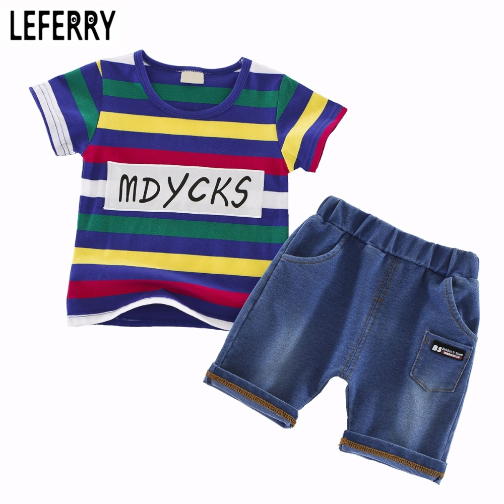 Kids Clothes New Summer Baby Boys Clothing Sets 2PCS T Shirt + Shorts Toddler Boys Clothing Children Outfits Cotton new 2017 summer children 2 pcs set kids clothes boys letter striped t shirts and jeans shorts pants boys children clothing sets