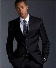Free shipping men's Black suit men's three button gentleman formal suit set suit work wear slim fit suit men's blazer man pants