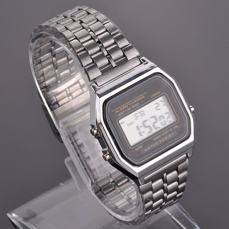 NEW Vintage Women Men Stainless Steel Square High quality LED Digital Stopwatch Wrist Watch  relogio masculino Free Shipping stylish 8 led blue light digit stainless steel bracelet wrist watch black 1 cr2016
