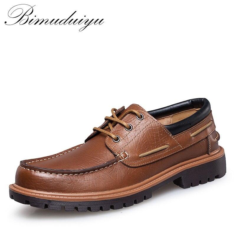 BIMUDUIYU Brand Autumn Winter Comfortable Men Genuine Leather Casual Shoes Men Flats Shoes Breathable Deodorant Male