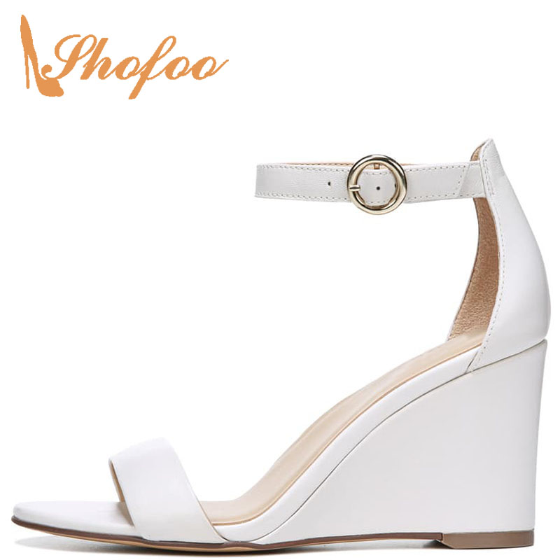 Shofoo Heels High-Wedges Ankle-Wrap-Cover Strapsuper Fashion Black/white Solid Buckle