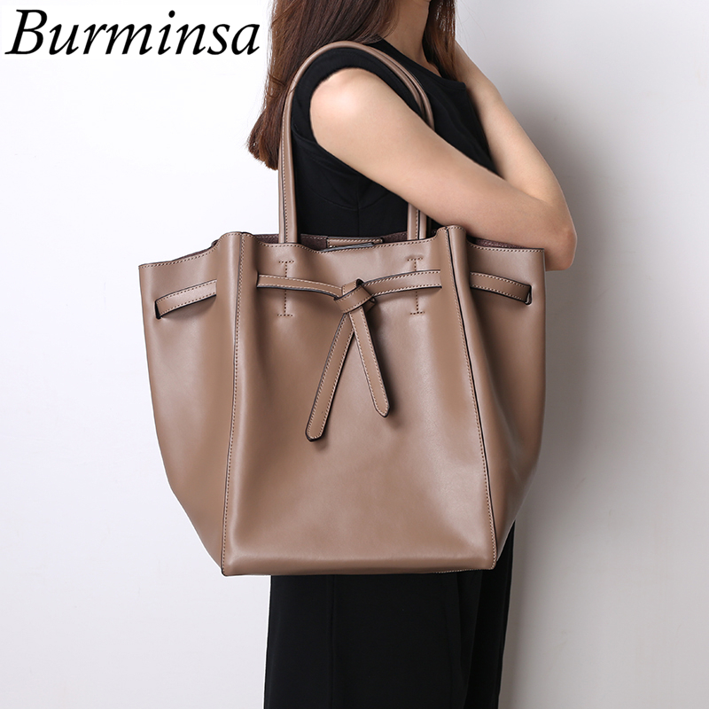 Burminsa Brand Drawstring Genuine Leather Bags Large Capacity Tote Shoulder Bags Designer Handbags Shopping Bags For Women 2017 drawstring bags