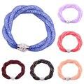 2016 New 3 Layers Twist Mesh Nylon Infinity Bangle Rhinestone Wristband Cuff Bracelet