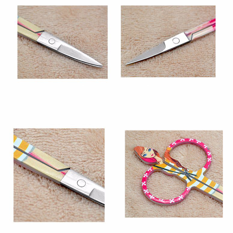 Small Curved Sharp Tip Eyebrow Eyelash Makeup Scissors Face Hair Trimmer Nose Scissors Cute Doll Design Make up Beauty Tool 15pc