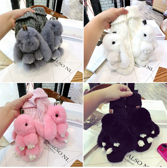 2018 Winter Lovely Women Bear Cat Claw Paw Mitten Plush Gloves Animal Gloves Ladies Half Cover Female Gloves Solid Girl Gloves