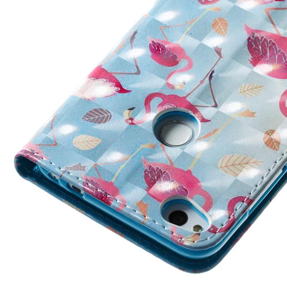 3D печатных, рубашка с изображением фламинго пони медведь Ловец бабочек откидной Чехол-кошелек с подставкой из искусственной кожи чехол для Huawei Honor 8 P8lite P10lite Y5 Y6 2017