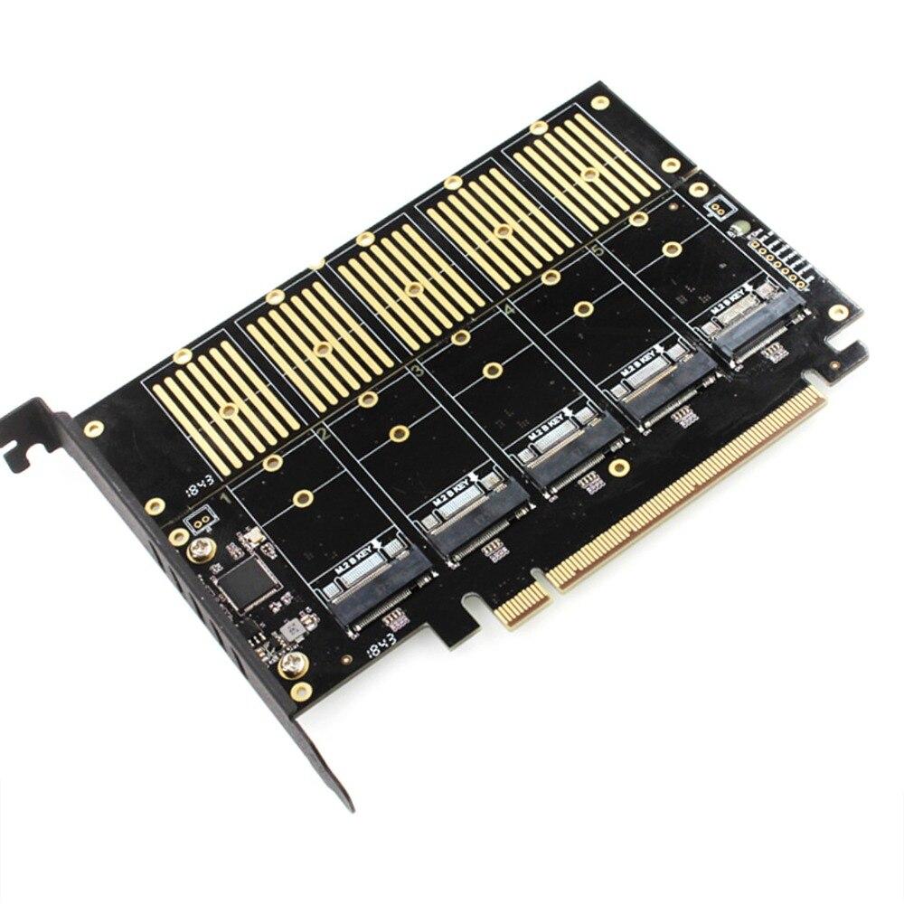 JEYI JMS585-X16 PCIE 5 m. 2 carte d'extension SATA tourner PCIE3.0 SATA carte réseau RAID 5 * ssd 5 * ngff 5 * m.2 carte Softraid grande puissance