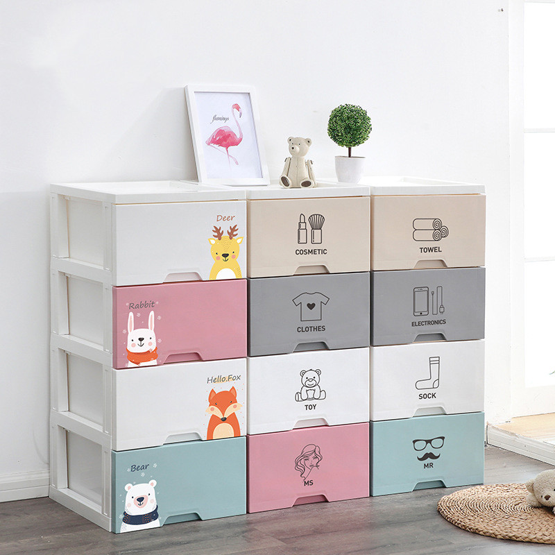 Storage Drawer Storage Cabinet Wardrobe Toys Multilayer Storage Box Four Snacks Sundry Bedside Storage Box For Living Room Bedro