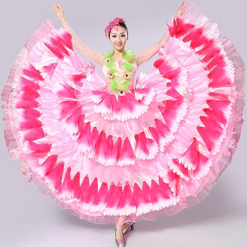 Freeship long sleeve glitter 6color full flower petals hot pink/green/red etc dance dress/stage performance dress/belle/ballroom