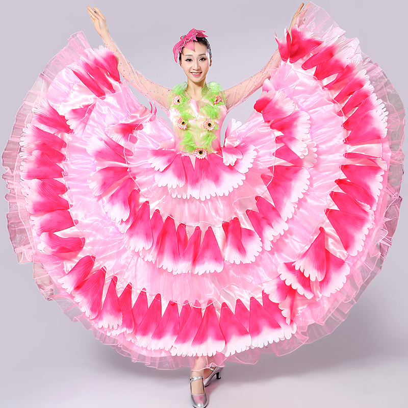 Freeship long sleeve glitter 6color full flower petals hot pink/green/red etc dance dress/stage performance dress/belle/ballroom