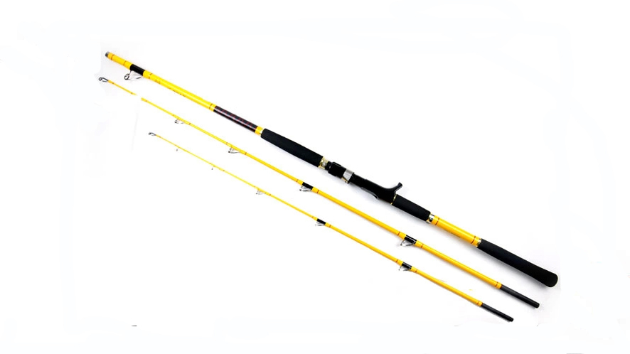 Free shipping boat fishing rod yellow 2 1 meters jigging for Trolls fishing pole