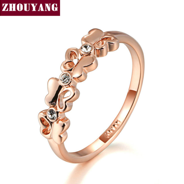 Top Quality Butterfly Ring Rose Gold Color Austrian Crystals Full Sizes Wholesal