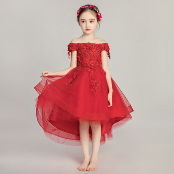 Cute Bandage Evening Gown For Kids Lace Applique Flower Girl Ball Gown Off Shoulder Communion Mesh Dresses Beads Holy Pageant